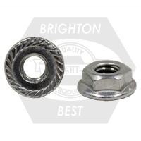 #10-32 HEX FLANGE NUTS SERRATED 18-8 STAINLESS STEEL