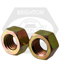 """1/4""""-28 FINISHED HEX NUTS GRADE 8 FINE MED. CARBON ZINC-YELLOW CR6"""