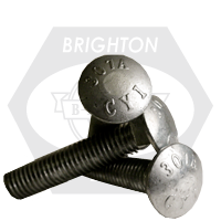 """3/8""""-16x12"""",6"""" THD UNDER-SIZED CARRIAGE BOLTS A307 GRADE A COARSE HDG"""
