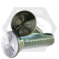 "1/2""-13x1 1/2"" GRADE 5 PLOW BOLTS NO.3 HEAD, FULL THREAD, ZINC"
