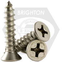 "#10-12x1 1/4"",(FT) SELF-TAPPING SCREWS PHILIPS FLAT HEAD TYPE A STAINLESS A2 18-8"