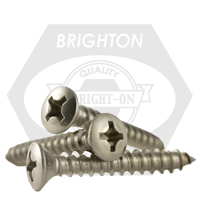 """#8-15x7/8"""",(FT) SELF-TAPPING SCREWS PHILIPS OVAL HEAD TYPE A STAIN A2 18-8"""