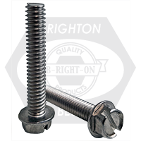 "#10-32x3/4"",(FT) INDENT HWH SLOT MACHINE SCREW SLOTTED INDENT HEX WASHER HEAD STAINLESS A2 18-8"