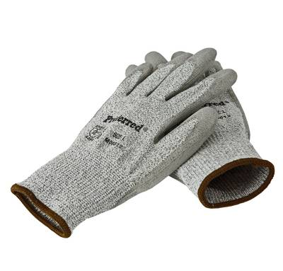 L CUT LEVEL 2_GRAY PU / GRAY HPPE LINER PROFERRED CUT RESISTANT GLOVES