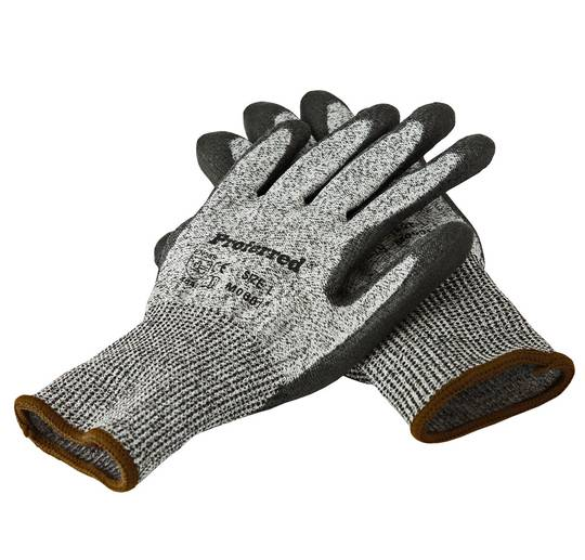 L CUT LEVEL 3_BLACK PU / GRAY HPPE LINER PROFERRED CUT RESISTANT GLOVES